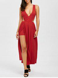Maxi Plunge Backless Slit Cut Out Dress