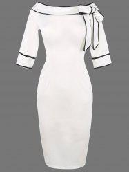 Boat Neck Bowknot Embellished Bodycon Dress - WHITE