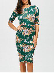 High Waist Floral Print Bodycon Dress