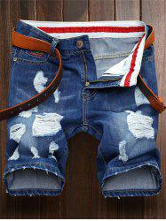 Ripped Straight Legs Denim Shorts
