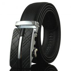 Plaid Engraved Alloy Buckle Faux Leather Belt - BLACK