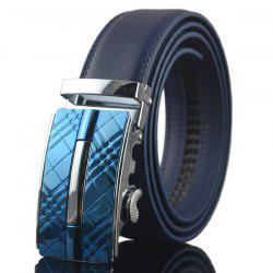 Plaid Engraved Alloy Buckle Faux Leather Belt