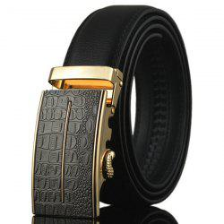 Alloy Emboss Buckle Artificial Leather Belt - BLACK