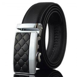 Zircon Argyle Carve Metal Automatic Buckle Belt - BLACK