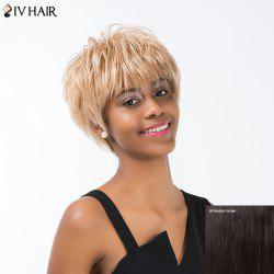 Siv Hair Short Layered Cut Fluffy Full Bang Capless Human Hair Wig