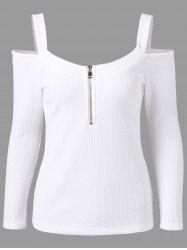 Ribbed Zip Front Cold Shoulder T-shirt