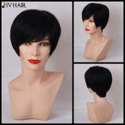 Siv Hair Oblique Bang Short Layered Cut Straight Capless Human Hair Wig