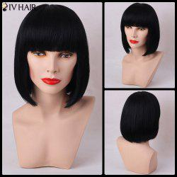 Siv Hair Short Straight Full Bang Bob Capless Human Hair Wig
