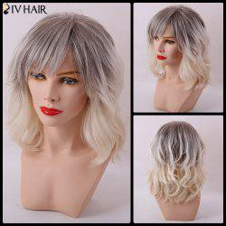 Siv Hair Medium Gradient Side Bang Slightly Curly Capless Human Hair Wig