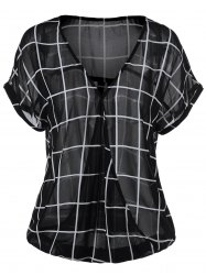 Plus Size Plaid Surplice Blouse