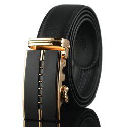 Faux Leather Rectangle Automatic Buckle Belt