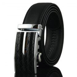 Argyle Carve Metal Buckle Artificial Leather Belt - SILVER