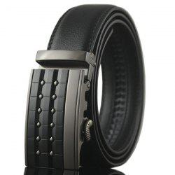 Carve Rectangle Metal Buckle Faux Leather Belt