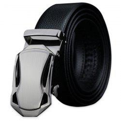 Polishing Geometric Automatic Buckle Faux Leather Belt