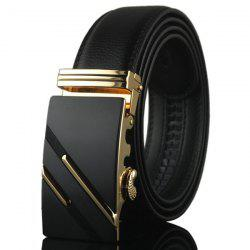 Diagonal Stripe Automatic Buckle Artificial Leather Belt