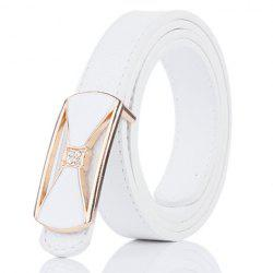Hollow Out Bowknot Plate Buckle Wide Leather Belt - WHITE