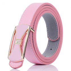 Hollow Out Bowknot Plate Buckle Wide Leather Belt - LIGHT PINK