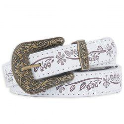 Floral Emboss Pin Buckle Faux Leather Waist Belt - WHITE