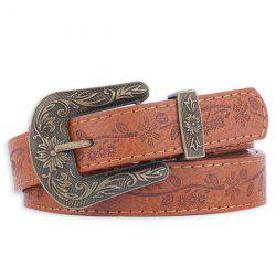 Floral Emboss Pin Buckle Faux Leather Waist Belt