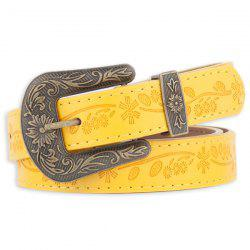 Floral Emboss Pin Buckle Faux Leather Waist Belt - YELLOW