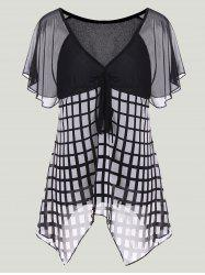 Checked Asymmetric Chiffon Top