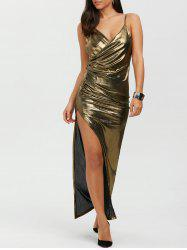 Slit Floor Length Slip Metallic Formal Dress