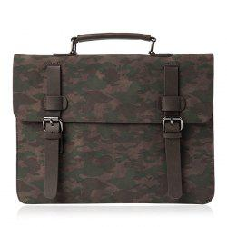 Buckle Straps Camouflage Printed Briefcase -