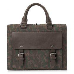 Dual Buckles Camouflage Printed Briefcase - CAMOUFLAGE