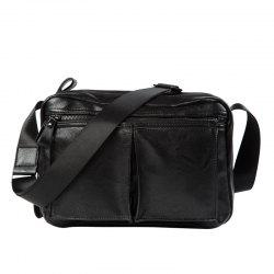 Zips Detail Faux Leather Crossbody Bag