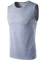 Crew Neck Sleeveless T-Shirt - LIGHT GRAY