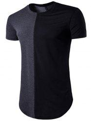 Crew Neck Color Block Hem T-Shirt -
