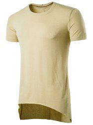 Crew Neck Asymmetric Hem T-Shirt -
