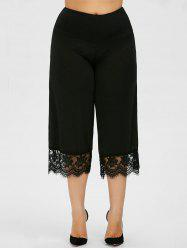 Lace Trim Plus Size Capri Palazzo Pants - BLACK