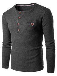 Fake Pocket Henley Long Sleeve T-Shirt - DEEP GRAY