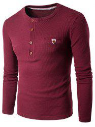 Fake Pocket Henley Long Sleeve T-Shirt - WINE RED