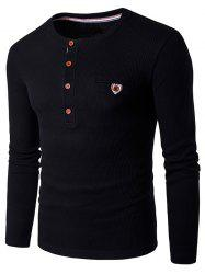 Fake Pocket Henley Long Sleeve T-Shirt