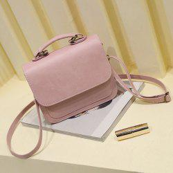 Flap PU Leather Crossbody Bag - PINK