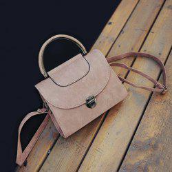 Push Lock Metallic Handle Crossbody Bag