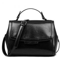 Faux Leather Flap Handbag