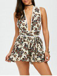 Self Tie Floral Open Back Romper