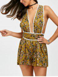 Floral Print Backless Self Tie Romper - Jaunâtre
