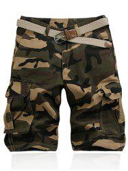 Camouflage Pattern Straight Legs Cargo Shorts
