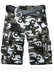 Camouflage Pattern Straight Legs Cargo Shorts - GRAY WHITE CAMOUFLAGE