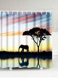 Afro Landscape Elephant Waterproof Shower Curtain