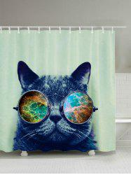 Cat with Glasses Bathroom Shower Curtain
