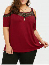 Plus Size Cold Shoulder Lace Trim T-Shirt
