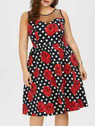 Plus Size Floral and Polka Dot Bridesmaid Dress -