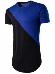 Geometric Color Block Hem T-shirt -