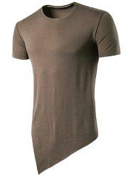 Asymmetric Hem Basic T-Shirt -
