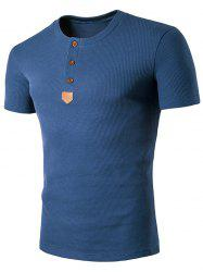 Henley T-shirt patché en cuir artificiel - Bleu